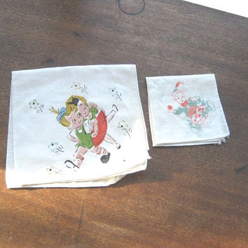 Vintage Nursery Rhyme Hankie with Little Jack Horner; German Children in Lederhosen Hankie - Cotton Antique Children's Novelty Hankies