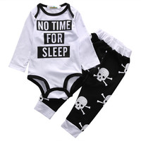 Letter Printed Tops Bodysuit And Skeleton Cotton Pants Newborn Kids Baby Girls Boys Personality Clothes Sets Skull Outfits Set