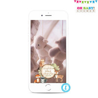 Woodland Geofilter, Woodland Snapchat Filter, Woodland Baby Shower, Woodland Animals Baby Shower, Snapchat Filter Baby Shower Geotag, WD02
