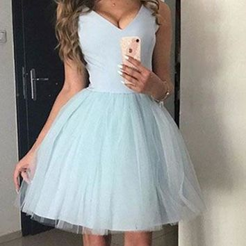 A Line V Neck Short Blue Prom Dress, Light Blue Graduation Dress, Short Homecoming Dress, Blue Bridesmaid Dresses