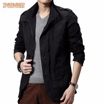 New Brand 2017 Spring Autumn Fashion Mens Jacket Casual Slim Fit Zip Up Military Men Jackets Male Overcoat Plus Size L-3XL