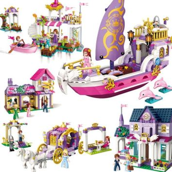 ENLIGHTEN City Girls Friends Princess Violet Royal Carriag Car Building Blocks Sets Bricks Kids Toys Compatible Legoe
