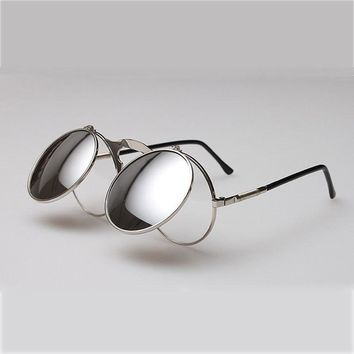 Steampunk Glasses Retro Round Sunglasses Festival Mirror Lens Metal Alloy Frame for Fashion Hipster