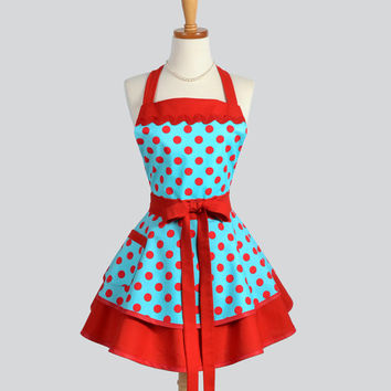 Ruffled Retro Apron - Cute Pinup Womens Apron in Teal and Red Polka Dots Handmade Full Kitchen Apron