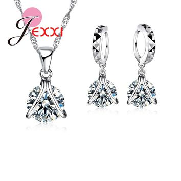Jemmin Hot Sale 925 Sterling V Shape Pendant Necklace Cubic Zirconia Drop Earrings for Women Bridal Party Jewelry Accessories