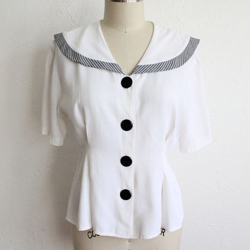 Vintage 80s White Blouse with Large Sailor Collar // Black Gingham Bow