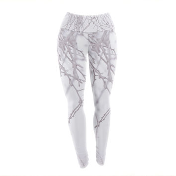 "Monika Strigel ""Frozen"" White Yoga Leggings"