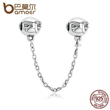 925 Sterling Silver Dainty Bow, Clear CZ Stopper Charms fit DIY Bracelets Safety Chain Women Jewelry PAS328