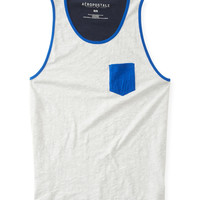 Aeropostale  Mens Contrast Back Pocket Tank Top - Gray