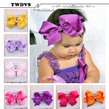 TWDVS Girls Big Bow Infant Baby Flower Headband Hair Elastic Bow Headbands Hair band kids Children Accessories W--017