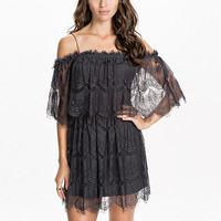 Black Sheer Lace Off Shoulder Mini Dress