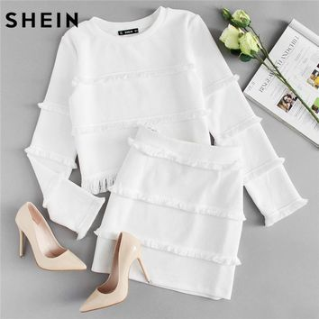SHEIN 2 Piece Set Women White 2018 Spring Sets Elegant Fringe Detail Textured Long Sleeve Crop Top and Skirt Set