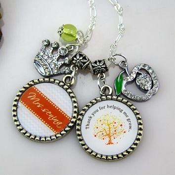 Teachers Necklace, Bottle Cap Necklace, Graduation Gifts for teacher, Chevron, Silver Apple, -Free gift Box