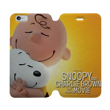 CHARLIE AND BROWN PEANUTS SNOOPY Wallet Case for iPhone 4/4S 5/5S/SE 5C 6/6S Plus Samsung Galaxy S4 S5 S6 Edge Note 3 4 5