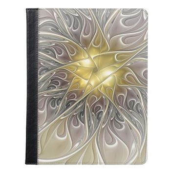 Flourish With Gold Modern Abstract Fractal Flower iPad Case