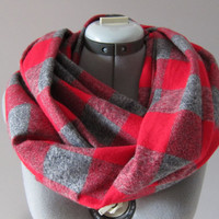 Cozy Red Grey Plaid Checkered Infinity Scarf