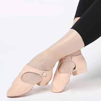 Genuine Leather Stretch Jazz Dance Shoes for Women Ballet Jazzy Dancing Shoe Teachers's Dance Sandals Exercise Shoe