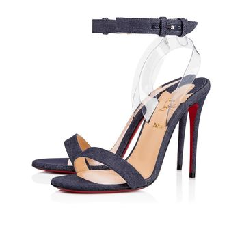 Christian Louboutin Cl Jonatina Blue/transp Denim 18s Sandals 1181116u339
