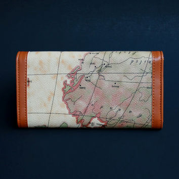Womens Wallet, Map Printed Wallet, Map Printed Purse, World Map Wallet, World Map Printed Wallet, Brown Wallet, Brown Purse