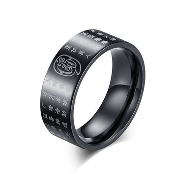 Vintage Titanium Steel Ring for Women Men Mantra Words Ring Chinese Buddhism Pray Jewelry Taoist Eight Gods Amulet