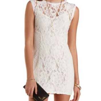 Paneled Bodycon Lace Dress by Charlotte Russe - Ivory