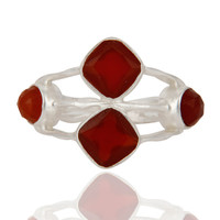 Handmade Natural Faceted Gemstone Red Onyx 925 Sterling Silver Ring