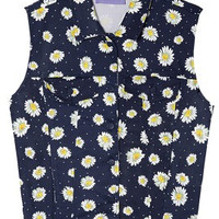 Daisy Print Vest In Dark Blue