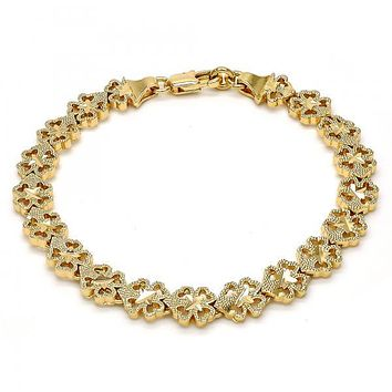 Gold Tone 03.100.0027.08.GT Fancy Bracelet, Diamond Cutting Finish, Gold Tone