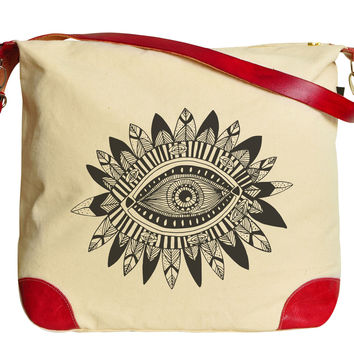 Aztec Tribal Eye Printed Canvas Leather Trap Tote Shoulder Bag WAS_33
