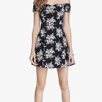FLORAL STRETCH COTTON SKATER DRESS from EXPRESS