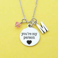 Personalized, Birthstone, Personalized, Letter, Initial, you're my person, Heart, Necklace, Grey's Anatomy, Birthday, Gift, Jewelry