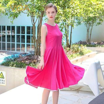 Plus Size Silk Sleeveless Solid Rose Red Casual Midi Dress Cute Beach Women Mid Waist Pleated Dress Ajx01101