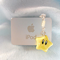 Super Mario Invincibility Star Dust Plug Charm, Cute, Kawaii :D