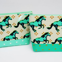 Horse makeup bag, green gold cosmetic case, mustangs zipper pouch, travel toiletry tote, green project bag, pencil case, makeup holder