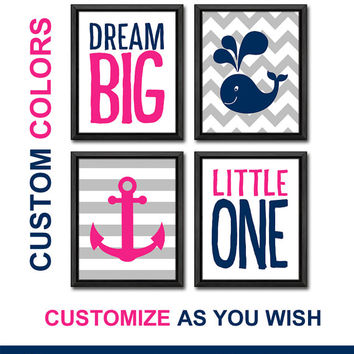 hot pink navy girl nursery wall decor nautical baby girl artwork dream big nautical playroom art for girls room decor anchor nursery poster