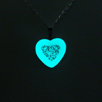 Aqua Glowing Necklace, Glowing Jewelry,  Glow in the Dark Heart, Gifts for Her, OOAK