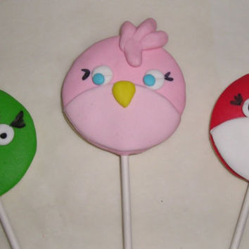 6 Girl Bird Cookie Lollipops Kids Birthday Party Baked Goods Gift ideas Party favors Kids Bithday Favors Cookie Lollipops Decorated
