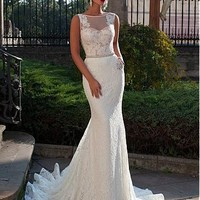 [229.99] Elegant Tulle & Lace Mermaid Wedding Dress With Lace Appliques - Dressilyme.com