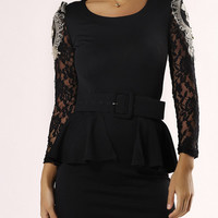 Flounce Long Sleeve Lace Belted Dress