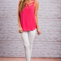Double Crossed Tank, Bubblegum Pink