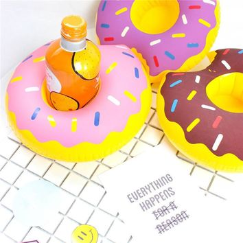 Donut shape Summer Inflatable Cup Holder Drink Floating Party Beverage Cup Boats Holder For Wedding Beach Party Supplies