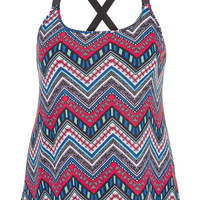 plus size tank with patterned chevron stripes