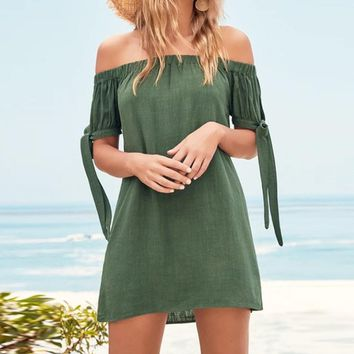 Fashion New Solid Color Shoulder Short Sleeve Dress Green