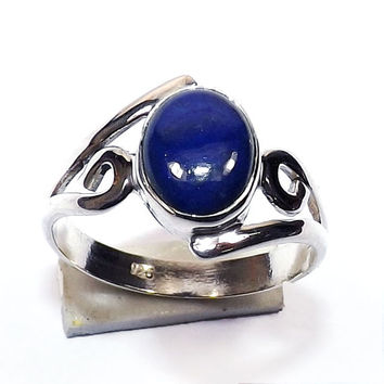 Lapis Lazuli Ring - Solid Silver Ring - Sterling Silver Ring - Handmade Silver Ring - Lapis Gemstone Ring - Cabochon Ring - Oval Stone Ring