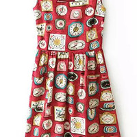 Red Sleeveless Clock Print Sheath A-Line Mini Pleated Dress