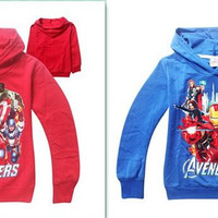 best price cotton avengers outwear iron man hulk Hoodie Long Sleeve Terry Hooded Jumper Cartoon Hoodies Outerwear Kids Clothing D266