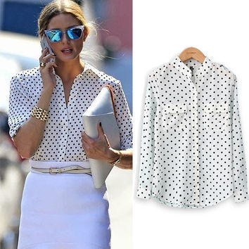 Polka Dot Print Plus Size Shirt
