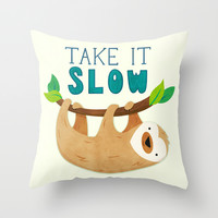Sloth Throw Pillow by Claire Lordon