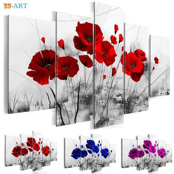 Dark Red Blue and Purple Poppies Flowers Prints Poster Canvas Painting 5 Panel Modern Black Wall Art for Bedroom Home Decor