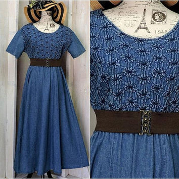 Long denim dress / M / L / denim maxi dress / jean dress / boho / prairie / loose fit / casual